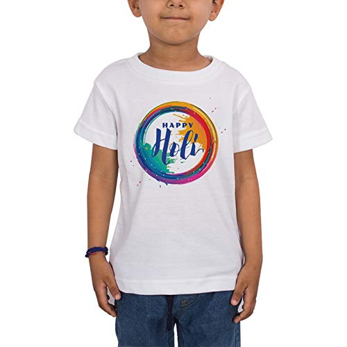 LIMIT - Happy Holi Circle Printed Kids T-Shirt Regular Fit Stylish Poly Cotton Tshirt for Boys & Girls Kids Casual Wear(2 Years) White