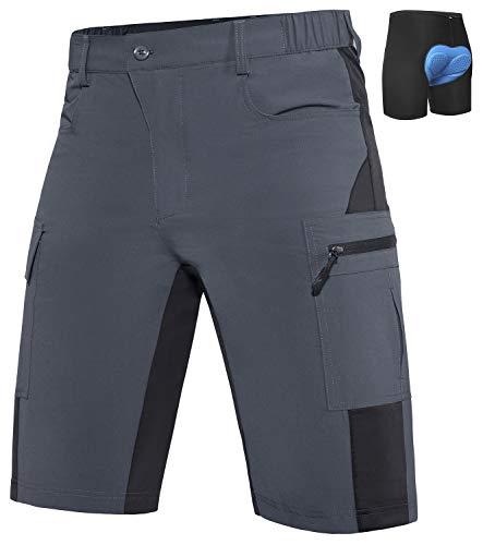 VZTEEK MTB - Pantalones de ciclismo para hombre para bicicleta de montaña, transpirables, de secado rápido, Hombre, color gris, tamaño 2XL/cm: (Wasit 92-97 Hip 112-117)