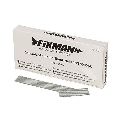 Fixman Lot de 5000 clous galvanisés à tige lisse 18G 1,25 x 14 mm 781047