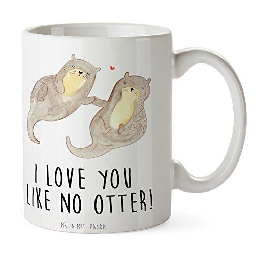 Mr. & Mrs. Panda Tasse Otter händchenhaltend - 100% Handmade in Norddeutschland - Otter Seeotter See Otter Tasse, Becher, Kaffeetasse, Geschenk, Teetasse, Tee, Cup, Schenken, Frühstück
