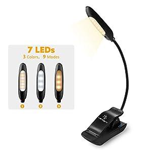 LENCENT Luz de Lectura 7LED recargable, 9Modos de Brillo (LED cálido y blanco) Lámpara de Libro clip para camas, pinza de LED en la lámpara Batería paraleer libros, revistas, estudioy viajaretc.