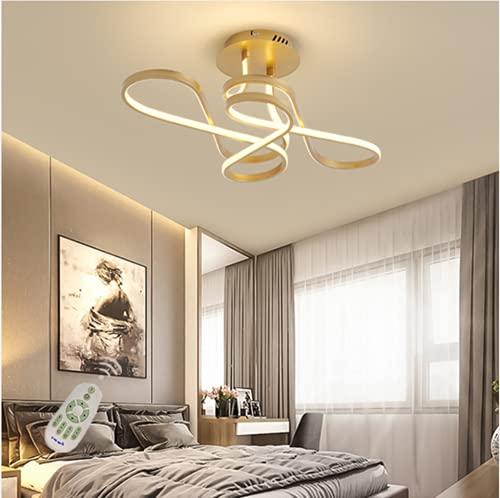 HGW Moderna Lámpara de Techo LED, 36W de Techo para Dormitorio Cocina Sala de Estar Pasillo Comedor Balcón,Oro,70cm