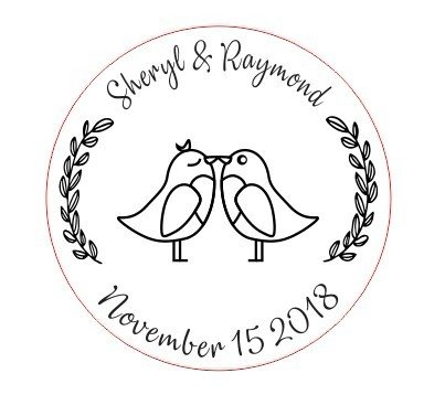 Custom Wedding Stamp,Love Birds Stamp,Custom name and date Self inking Rubber Stamp.