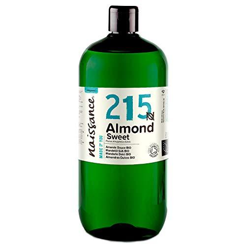 Naissance Huile d'Amande Douce BIO (n° 215) Pressée à froid – 1 litre – 100% pure et certifiée BIO, végan, sans OGM – parfaite pour les massages, le soin des cheveux et de la peau