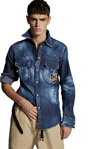 Dsquared Jeanshemd Canadian Icon Modell S79DL0010S30341 Farbe Jeans, Blau Large
