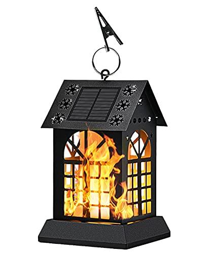 ZHMIAO Luz solar de 90 LED con forma de llama, de metal, iluminación exterior, jardín, patio interior, decoración, luz de paisaje.