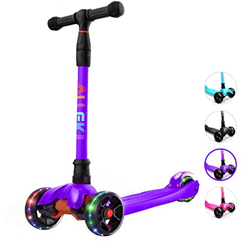 Allek Kick Scooter B02 Lean #039N Glide Scooter with Extra Wide PU LightUp Wheels and 4 Adjustable Heights for Children from 314yrs Purple