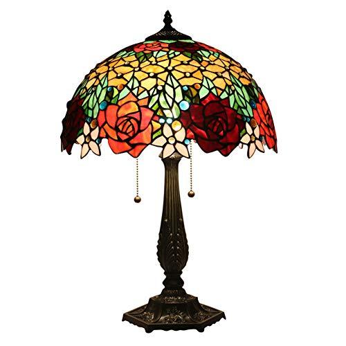 LYEJFF Lámpara de noche, 40 cm de diámetro, estilo vintage, rosa, cristal, para mesilla de noche, con base para dormitorio, estudio, oficina, cafetería, E27, vidrio, a, talla