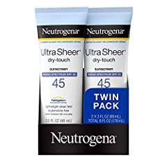 Twin pack with two 3-fluid ounce bottles of Neutrogena Ultra Sheer Dry-Touch Non-Greasy Sunscreen with SPF 45 that helps defend against the signs of sun and decrease the risk of skin cancer when used as directed This lightweight sunscreen is fast-abs...