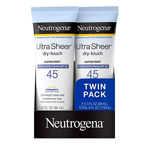 Neutrogena Ultra Sheer Dry-Touch Water Resistant and Non-Greasy Sunscreen Lotion with Broad Spectrum SPF 45, TSA-Compliant travel Size, 3 Fl Oz, Pack of 2, 6 Fl Oz