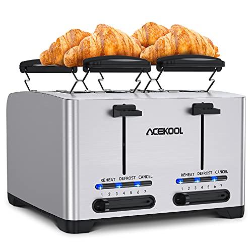 Toaster 4 Scheiben Acekool TA1 Automatik Toaster Edelstahl Kompakter Extra Breiter Toaster,7 Bräunungsstufe,Auftau & Aufwärm & Stornieren/Krümelschale entfernen,2 Integrierter Brötchenaufsatz,1500W