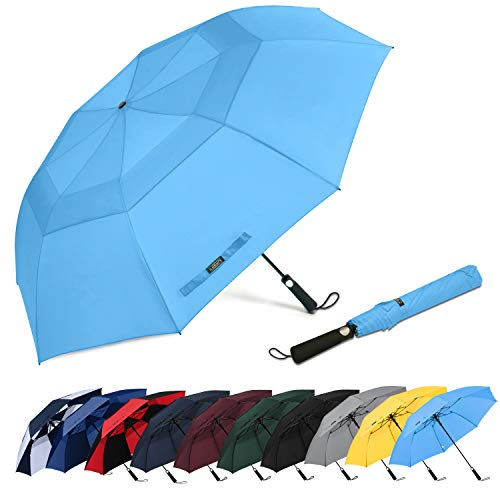 G4Free 62inch Portable Golf Umbrella Automatic Open Large Oversize Vented Double Canopy Windproof Waterproof Sport Umbrellas(Sky Blue)