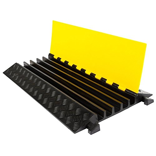 "Electriduct Heavy Duty 5 Channel Cable Protector Rubber 36"" Cord Cover Ramp with 1-3/8"" Channels for Wires and Hoses"