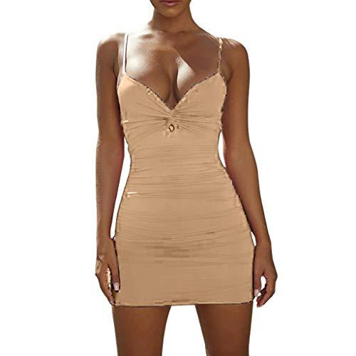 iHENGH Damen Sommer Rock Lässig Mode Kleider Bequem Frauen Röcke Frühling und Sommer Sexy Low Cut tiefem V Fold Sling Openwork Hip Kleid(Khaki, M)