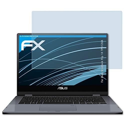 atFoliX Lámina Protectora de Pantalla Compatible con ASUS VivoBook Flip 14 TP412UA Película Protectora, Ultra Transparente FX Lámina Protectora (2X)