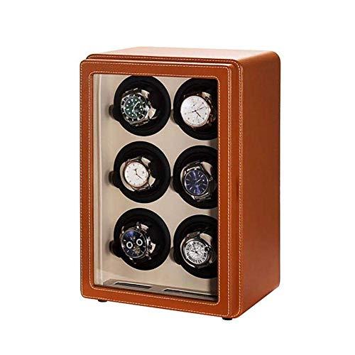 Caja giratoria para relojes de Amitd, 6 relojes, caja de movimiento automática, caja para relojes, caja para guardar relojes, vitrina para relojes, caja para relojes, color amarillo