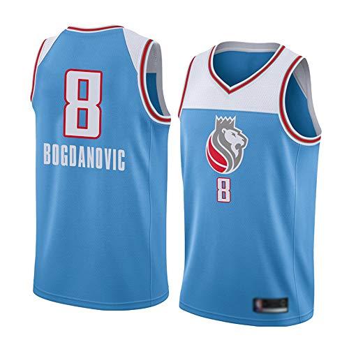 Wo nice Camisetas De Baloncesto De Los Hombres, Sacramento Kings # 8 Bogdan Bogdanovic Uniformes De Baloncesto De La NBA Sin Mangas De Los Deportes Camisetas De Ocio Al Aire Libre Tops,Light Blue