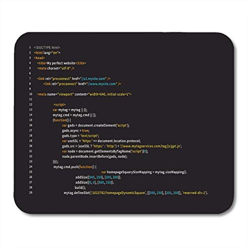 Tappetini per il Mouse Screen Simple HTML Code Colourful Tags in Browser View on Dark Program PHP Mouse pad 9.5  x 7.9  for Notebooks,Desktop Computers Accessories Mini Office Supplies Mouse Mats
