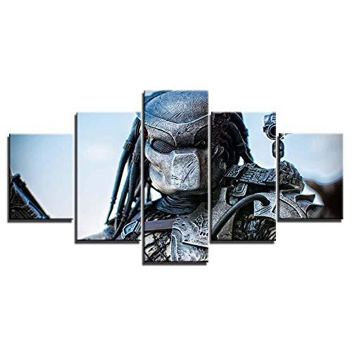 Poster Moderne 5 stück Alien vs. Predator Bilder Wandkunst Leinwand Malerei Poster und Drucke Wandbilder Für Wohnzimmer-Mit Rahmen