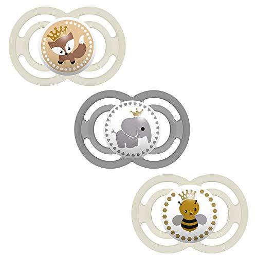 MAM Perfect Lot de 3 tétines en silicone 16 + Neutral Mix // avec 3 boîtes de transport stérilisées.