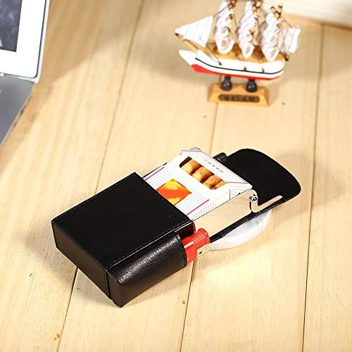 PU Leder Leder Zigarettenetui, mit Feuerzeughalter, Tragbare Zigarettenschachtel, Zigarettenhülle für Zigarettenpackungen hochwertigem Leder und Feuerzeug Tasche, 9,6 x 6,5 x 1,3 cm, Schwarz