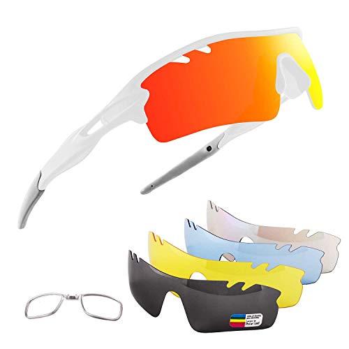 OULIQI Occhiali Ciclismo Polarizzati con 5 Lenti Intercambiabili Occhiali Bici Occhiali Sportivi da Sole UV da Uomo Donna per Corsa, MTB e Running (Bianco)