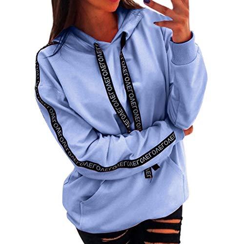 GOKOMO Plus Size Langarm Damen Solid Sweatshirt Kapuzenpullover Tops Shirt(Hellblau,XXX-Large)