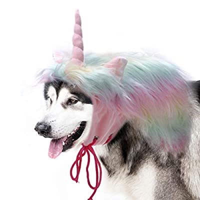 Onmygogo Funny Reideer Pet Costumes for Dog, Cute Furry Pet Wig for Halloween Christmas, Pet Clothing Accessories (Uni-corn, Size L)