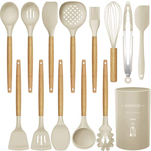 14 Pcs Silicone Cooking Utensils Kitchen Utensil Set, 446°F Heat Resistant,Turner Tongs,Spatula,Spoon,Brush,Whisk. Wooden Handles Khaki Kitchen...