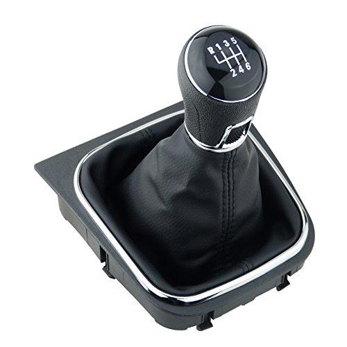 L&P A256-4 Schaltsack Schaltmanschette Schwarz Naht Rot Schaltknauf 6 Gang kompatibel mit VW Golf 5 V Golf 6 VI Rahmen Komplettset Knauf Plug Play Ersatzteil für 1K0711113 5K0711113 1K8711113