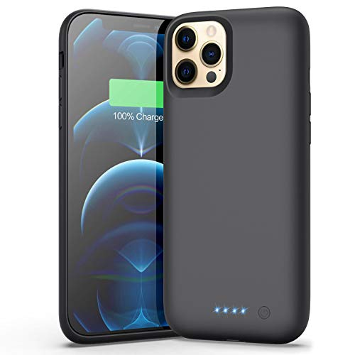 Battery Case for iPhone 12 Pro Max, 7800mAh Portable Protective Charging Case for iPhone 12 Pro Max Extended Backup Ultra Rechargeable Battery Pack External Charger Case(6.7inch)-Black