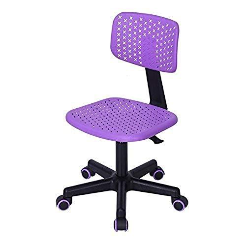FurnitureR Chaise de Bureau pivotante sans accoudoirs réglable pour Enfant avec Dossier Bas Violet