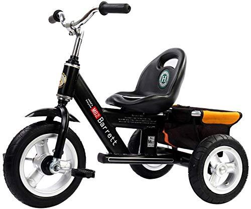 WLD Training Fahrradrahmen Kinderwagen Kinder Fahrrad Baby Bike 1-3-2-6 Jahre Alt Dreirad Kinder Outdoor Kinderwagen 4 Farboptionen Junge Mädchen Geburtstagsgeschenk,Schwarz