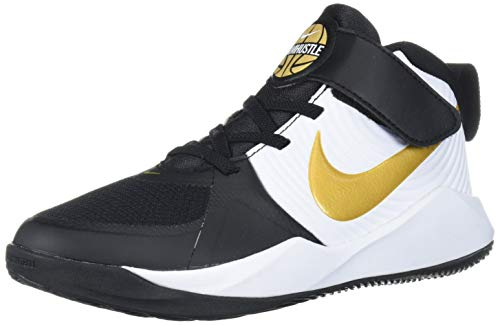 Nike Unisex-Kid's Team Hustle D 9 Pre School Basketball Shoe, Black/Metallic Gold-White, 13C Regular US Little Kid