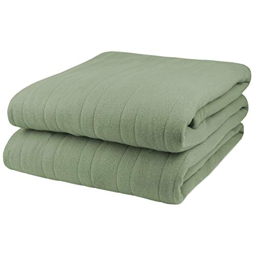 Pure Warmth Comfort Knit Heated Electric Blanket Full Sage Green