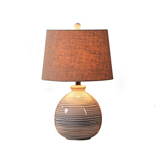 CAIM nieuwe Chinese keramische bureaulamp, eenvoudige en warme dimbare knop vaas lamp, Home woonkamer slaapkamer studie lamp, linnen stof schaduw E27 * 1
