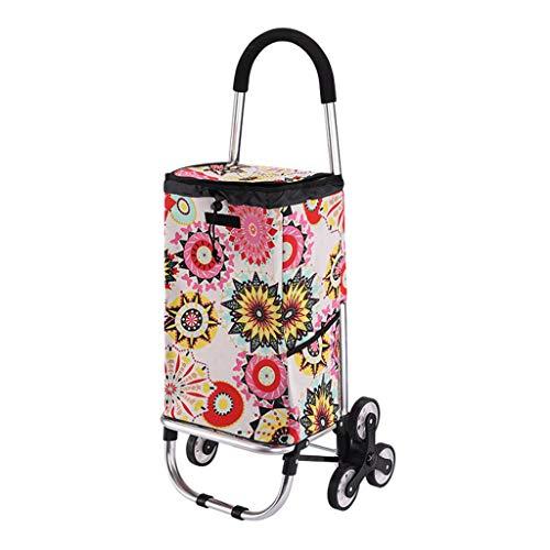 ZGF Trolleys Einkauf, Grocery Shopping Carts, Faltbare beweglicher Trolley Carts, Kletterhaus Treppen Anhänger,Sunflower