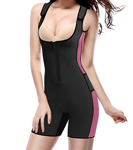 Gotoly Damen Neopren Abnehmen heißen Sauna Schwitzanzug Ärmeln für Gewichtsverlust (L, Schwarz)