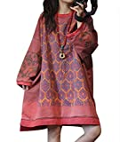 YESNO YQ7 Women Ethnic Floral Sweatshirts Jacket Plus Size Crew Neck Long Sleeve/Pockets (One Size (L-3XL), YQ7 Red)