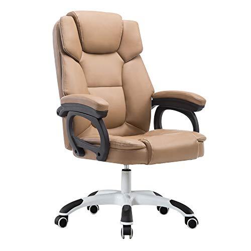 Bseack Liegender ergonomischer Renn-Bürostuhl Schreibtisch-Gaming-Stuhl aus Leder mit hoher Rückenlehne Renn-Bürostuhl aus PU-Leder mit hoher Rückenlehne for Büro-Besprechungsräume (Color : Khaki)