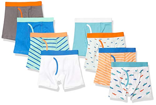 Amazon Essentials Cotton Underwear Boxer-Briefs, 8er-Pack Cars and Stripes, EU 104-110 cm