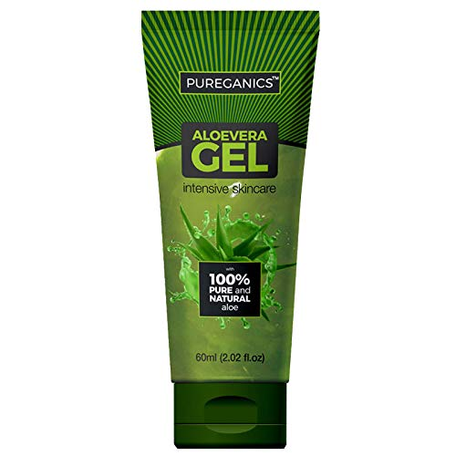 Pureganics Aloe Vera Gel for Face 60ml - Paraben free Pack of 2 - For all Types of Skin| Dry & Sensitive | 100% Pure & Natural | No Chemical | 100% Aloe Vera |Gel for daily Use | Made In India | Ayush Certified