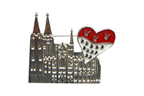 Unbekannt Herren Damen Brosche ~ Dom mit Herz-Wappen ~ aus Zinklegierung & Eisen Anstecker Kölner Dom Karneval Köln Kostüm