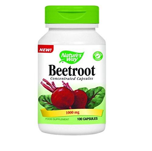 Nature's Way Beetroot 100 capsules   1,000mg per serving   Natural source of vegetarian iron   Vitamins B1, B2, B3, B6 & Vitamin C