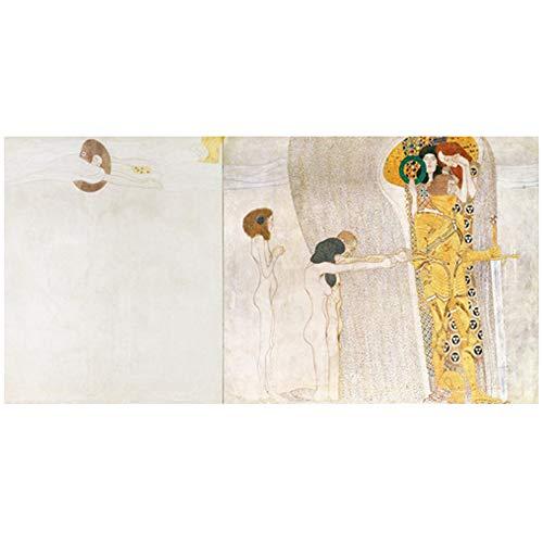 NOBRAND Cuadro en Lienzo Cuadro de Pared Detalle de Caballero del Friso de Beethoven Gustav Klimt Pintura Carteles para la decoración de la Sala de Estar 60x120cm (23.6x47.2 Pulgadas) Sin Marco