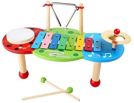 """Small Foot 2418 Xylophon """"Deluxe"""" aus Holz, mit 8-Ton-Xylophon, Triangel, Schelle, Trommel und 2 Holzstäben, ab 3 Jahre"""
