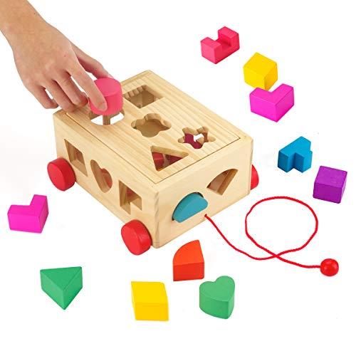 Surplex Steckwürfel aus Holz, Pädagogisches Spielzeug Motorikwürfel Vorschule Montessori Entwicklungsspielzeug Sortier Stapel Steckspielzeug Geometrische Tafel, Geburtstag für Kinder ab 3 Jahre