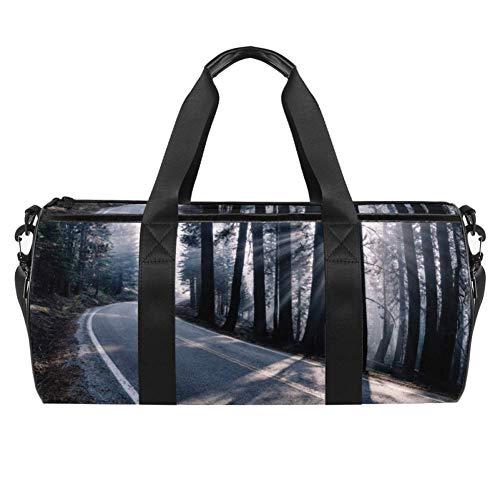 TIZORAX Sunrise Road Along The Trees Gym Duffle Bag Drum tote Fitness Travel Bag Rooftop Rack Bag
