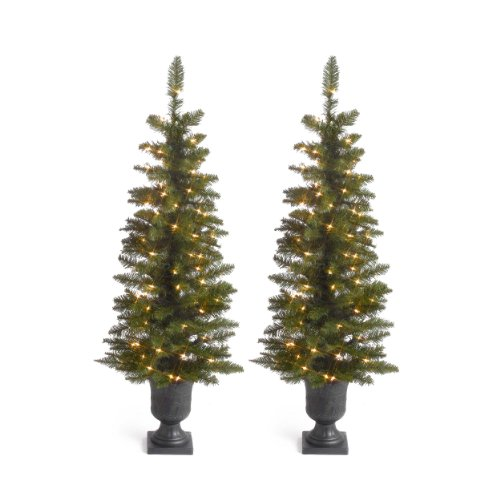 The Sterling Company Set of 2-4' Ptd Cedar Pine Home Decor, 11InL x 30InW x 45InH, Green