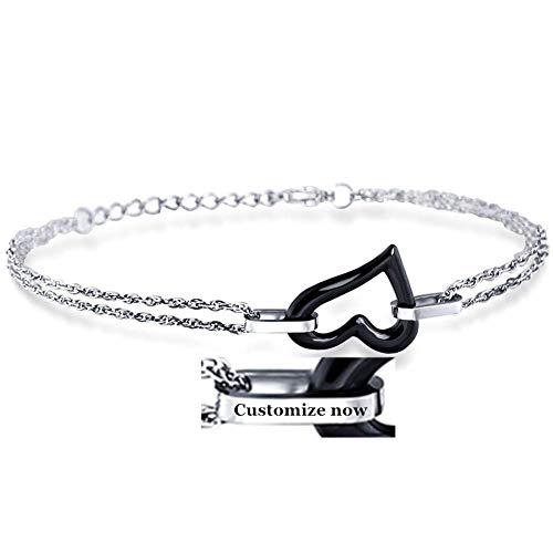 ForeverWill Personalized Ceramic Titanium Steel Heart Bracelet Custom His and Hers Couple Bracelets for Women Men Friendship Jewelry,Black